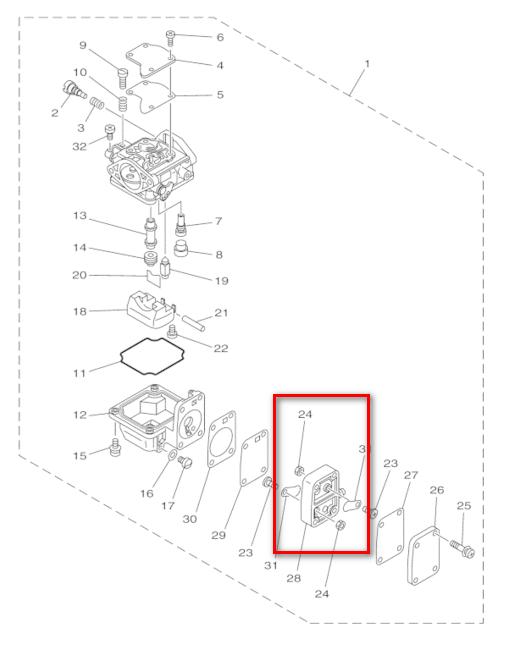63v 14301 Outboard Engine Carburetor Fuel Pump Body With Cover Jp21s
